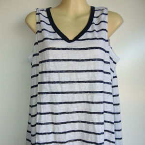 Tommy Bahama White Blue Stripe Nautical Linen Tank